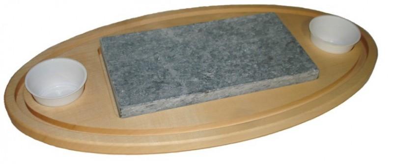Holzbrett oval mit Grillstein